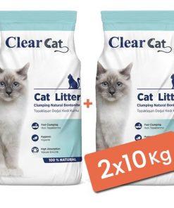 Clear Cat Kokusuz Topaklanan Doğal Bentonit Kedi Kumu İnce 2x10 Kg