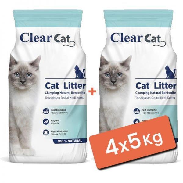 Clear Cat Kokusuz Topaklanan Doğal Bentonit Kedi Kumu İnce 4x5 Kg