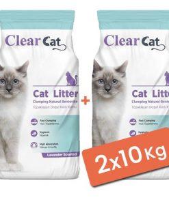 Clear Cat Lavantalı Topaklanan Doğal Bentonit Kedi Kumu İnce 2x10 Kg