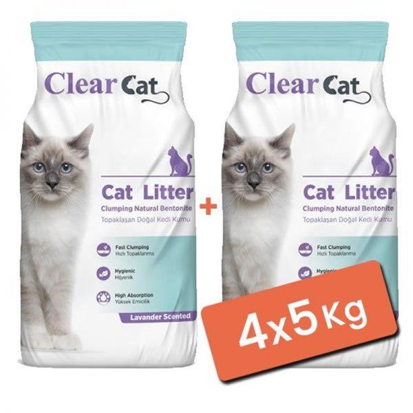 Clear Cat Lavantalı Topaklanan Doğal Bentonit Kedi Kumu İnce 4x5 Kg