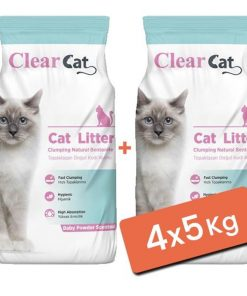 Clear Cat Pudralı Topaklanan Doğal Bentonit Kedi Kumu İnce 4x5 Kg