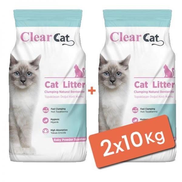 Clear Cat Pudralı Topaklanan Doğal Bentonit Kedi Kumu İnce 2x10 Kg