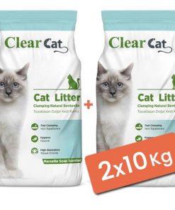 Clear Cat Sabunlu Topaklanan Doğal Bentonit Kedi Kumu İnce 2x10 Kg