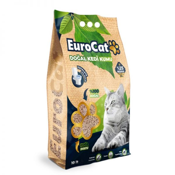 Eurocat Hızlı Topaklaşan Doğal Kedi Kumu 10 Lt