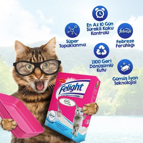 Felight Febreze Süper Beyaz Bentonit Topaklanan Kedi Kumu 6lt