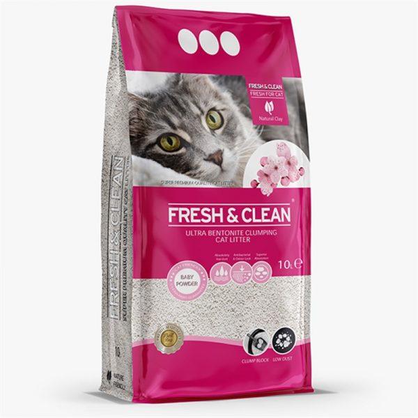 Fresh Clean Bebek Pudralı Bentonit Kedi Kumu 10 Lt