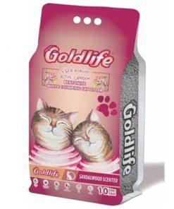 GoldLife Aktif Carbonlu Çilek Kokulu Topaklanan Bentonit Kalın Taneli Kedi Kumu 10 Lt