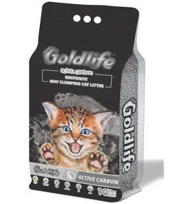 GoldLife Aktif Karbonlu Kokusuz Topaklanan Bentonit İnce Taneli Kedi Kumu 10 Lt