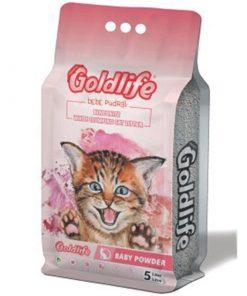 GoldLife Bebek Pudralı Topaklanan Bentonit Kalın Taneli Kedi Kumu 5 Lt