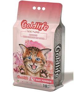 GoldLife Bebek Pudralı Topaklanan Bentonit Kalın Taneli Kedi Kumu 10 Lt