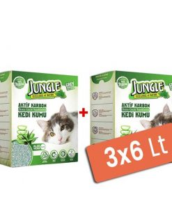 Jungle Karbonlu ve Aloeveralı Topaklanan Kedi Kumu 3x6 Lt