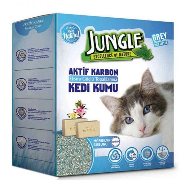 Jungle Karbonlu ve Marsilya Sabunlu İnce Taneli Topaklanan Kedi Kumu 6 Lt