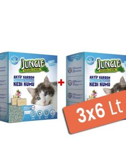 Jungle Karbonlu ve Sabunlu Topaklanan Kedi Kumu 3x6 Lt