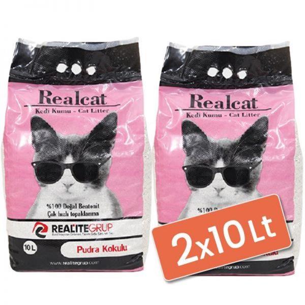 Real Cat Topaklanan Kedi Kumu Pudralı 2x10 Lt