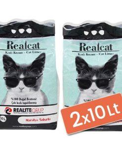 Real Cat Topaklanan Kedi Kumu Sabunlu 2x10 Lt