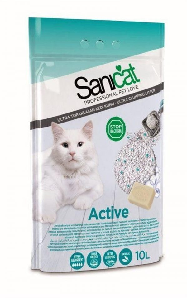 Sanicat Active Marsilya Sabunlu Topaklaşan Kedi Kumu İnce 10 Lt