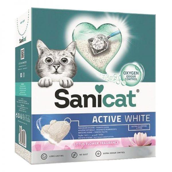 Sanicat Active White Topaklanan Kedi Kumu Lotus Çiçeği Kokulu 6 Lt