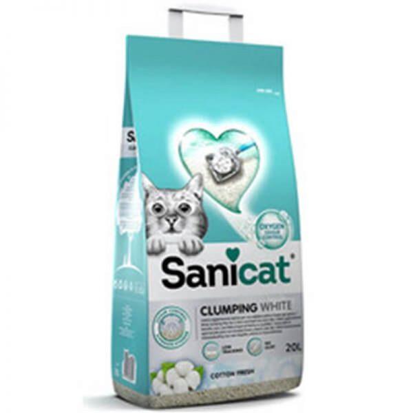 Sanicat Clumping White Cotton Fresh Oksijen Kontrol Emici Kedi Kumu 20 Lt