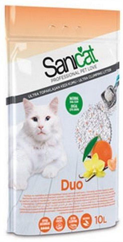 Sanicat Duo Vanilya ve Mandalina Kokulu Topaklaşan Kedi Kumu 10 Lt